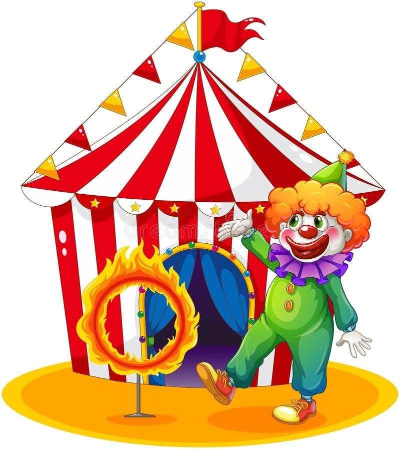 Een tent bij de rug van de clown en de ring van brand vector illustratie