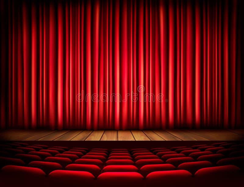 Een theaterstadium met een rood gordijn, zetels stock illustratie