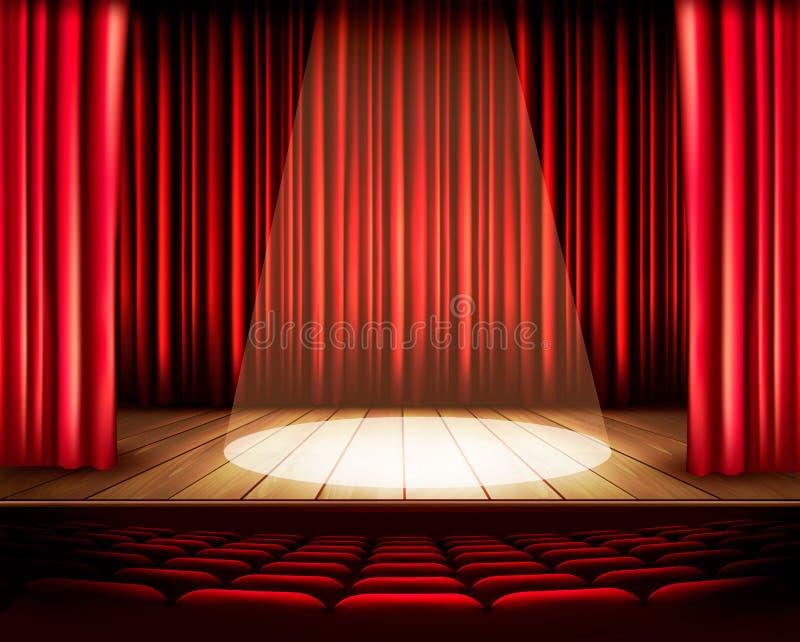Een theaterstadium met een rood gordijn, zetels en een schijnwerper vector illustratie