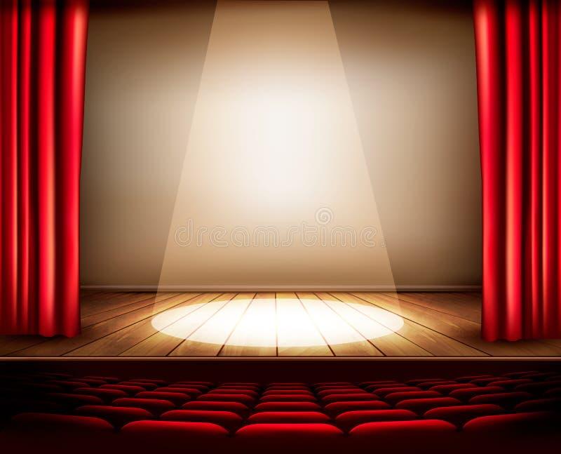 Een theaterstadium met een rood gordijn, zetels en een schijnwerper stock illustratie