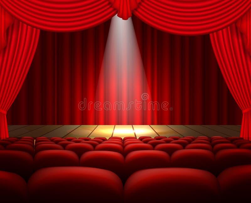 Een theaterstadium met een rood gordijn, zetels en een schijnwerper royalty-vrije illustratie