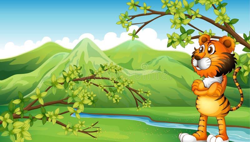 Een tijger dichtbij de berg royalty-vrije illustratie