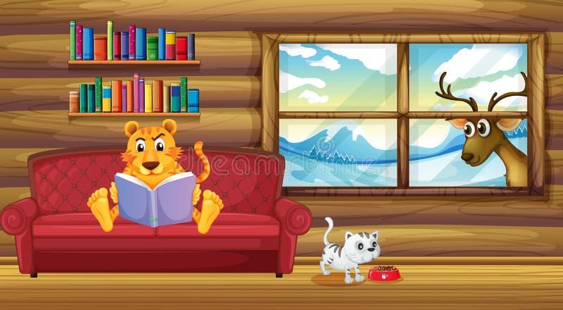 Een tijger die een boek binnen het huis lezen stock illustratie