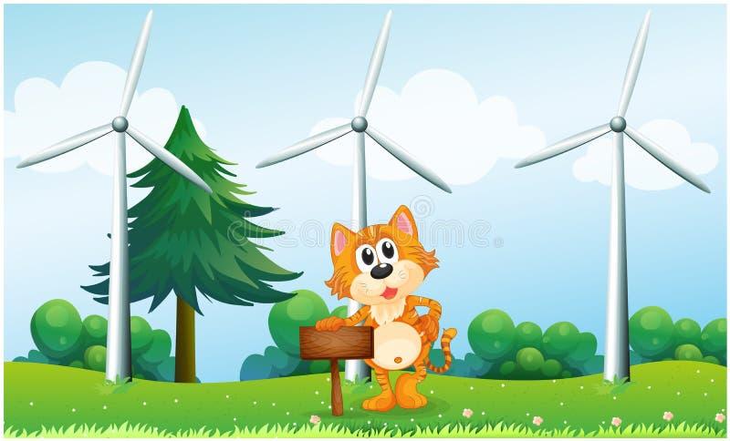 Een tijger die een leeg houten uithangbord houden dichtbij de windmolens vector illustratie