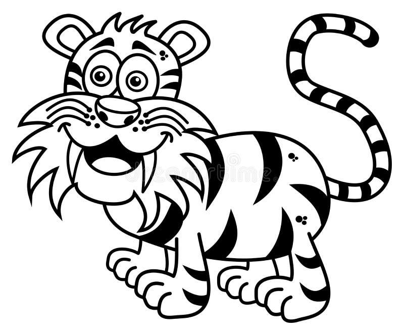 Een tijger die voor het kleuren glimlachen royalty-vrije illustratie