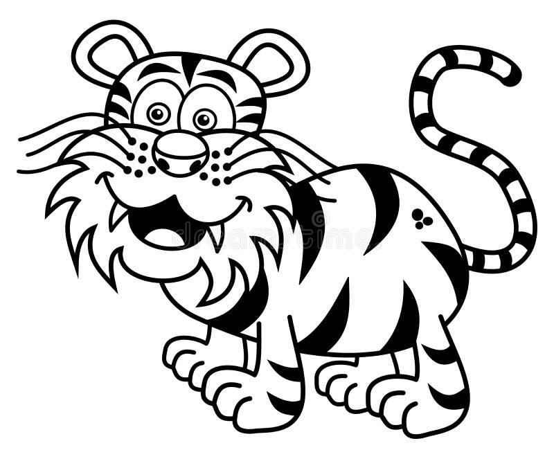 Een tijger die voor het kleuren glimlachen stock illustratie