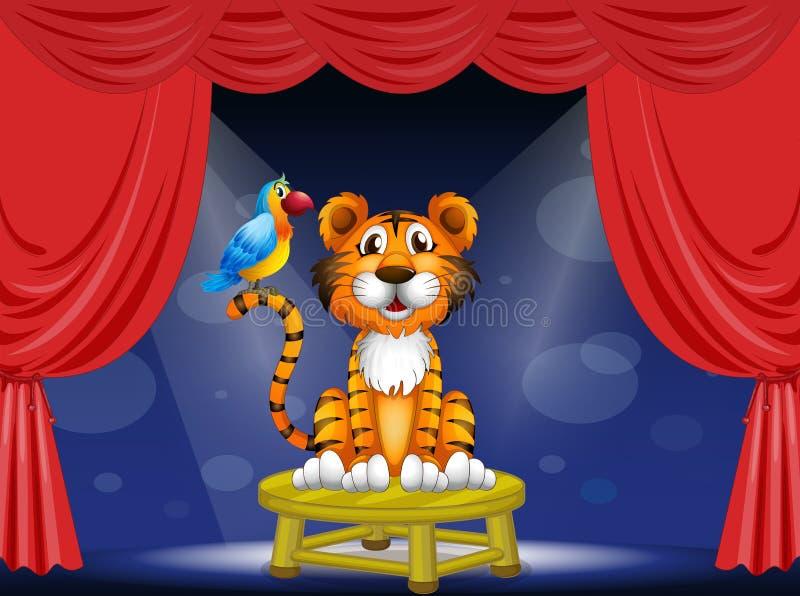 Een tijger en een papegaai in het circus stock illustratie