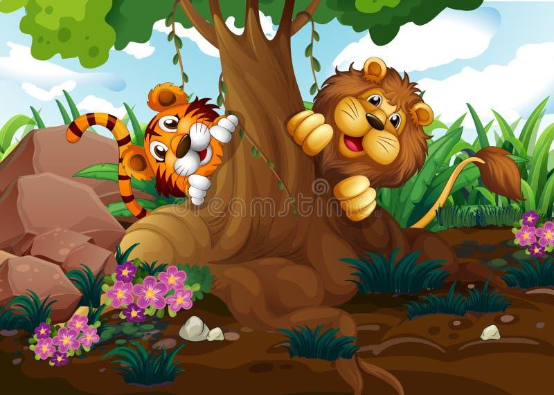 Een tijger en leeuw het spelen bij het bos stock illustratie