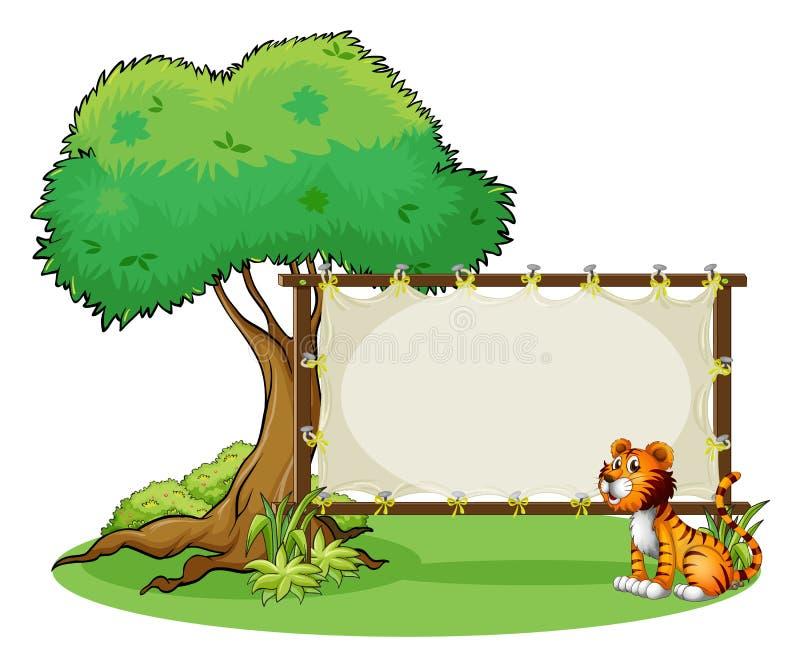 Een tijgerzitting bij de rechterkant van signage vector illustratie