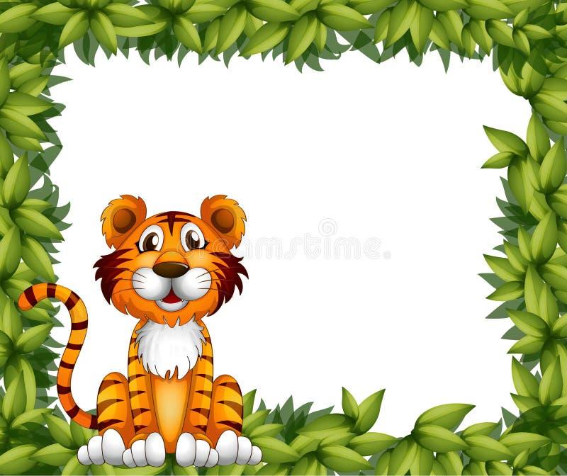 Een tijgerzitting in een bladkader stock illustratie