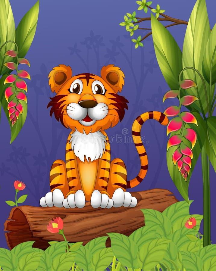 Een tijgerzitting in een hout vector illustratie