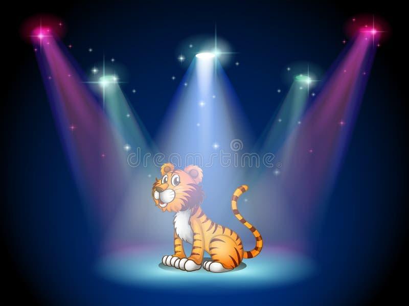 Een tijgerzitting op het stadium met schijnwerpers stock illustratie