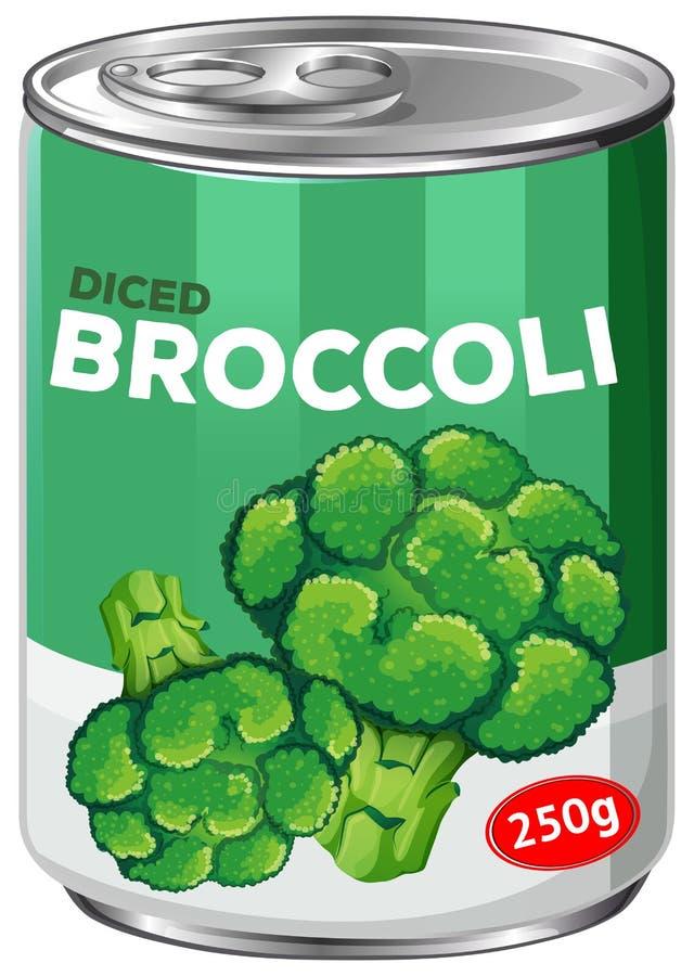 Een tin gedobbelde broccoli royalty-vrije illustratie