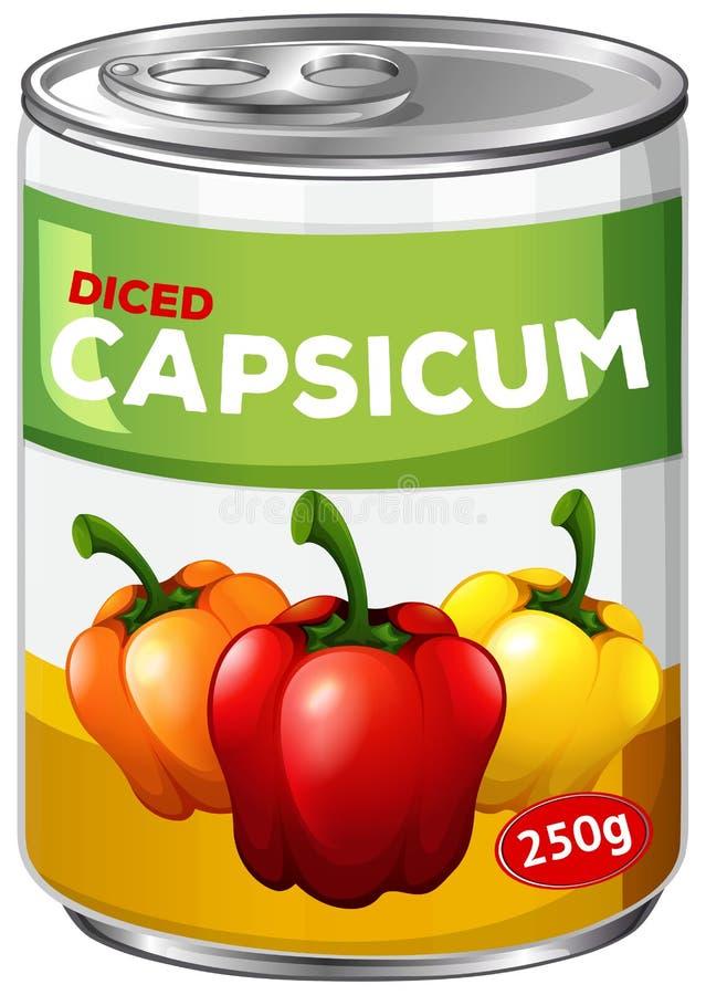 Een tin van gedobbeld capsicum stock illustratie