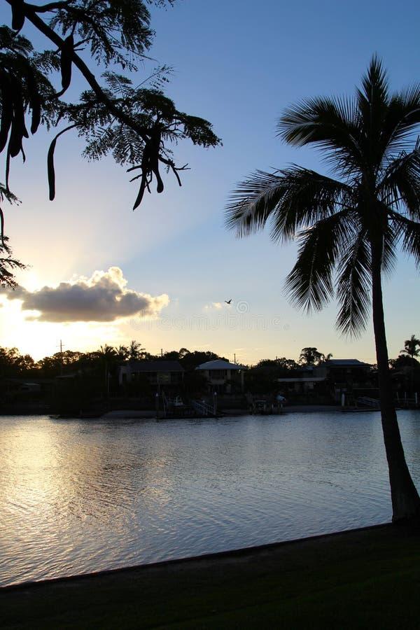 Een toneel Australische zonsondergang, Surfers Paradise royalty-vrije stock foto's
