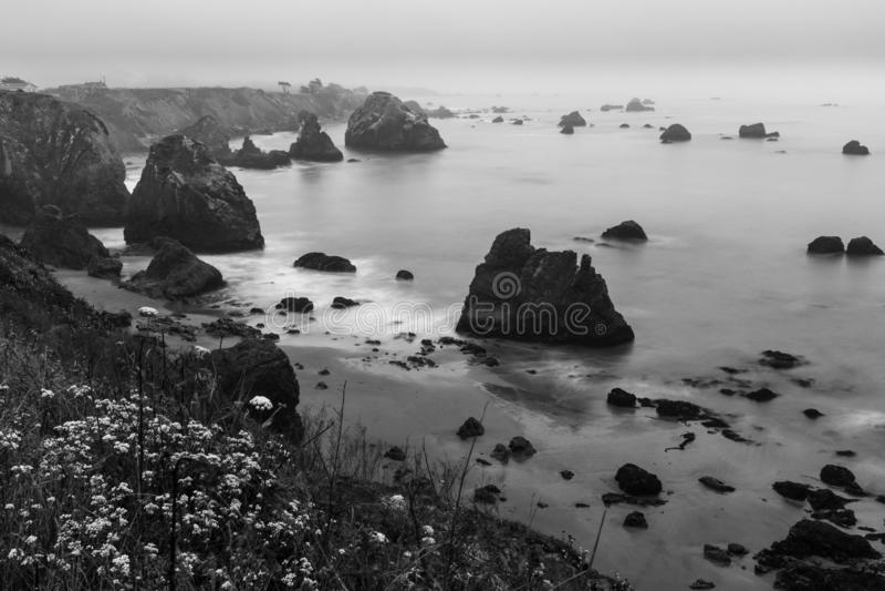 Een toneelmening van de noordelijke Californische kustlijn bij Bodega-Baai Schot in een zwart-witte en met lange blootstelling stock afbeeldingen