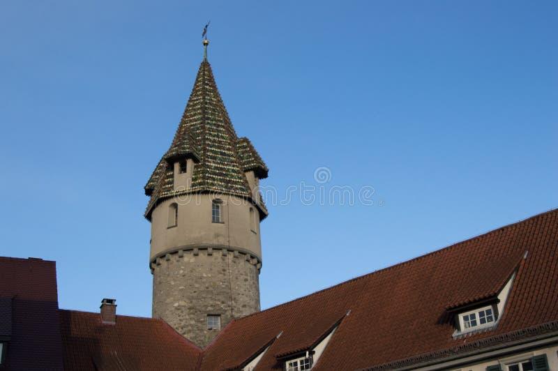 Een toren in een klassieke Duitse stijl royalty-vrije stock afbeelding