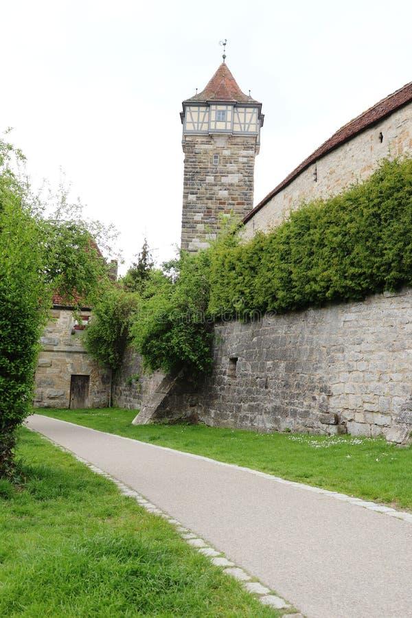 Een toren in Rothenburg ob der Tauber, Duitsland stock afbeelding