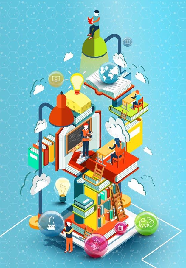 Een toren van boeken met lezingsmensen Onderwijs concept Online bibliotheek Online onderwijs Isometrisch vlak ontwerp vector illustratie