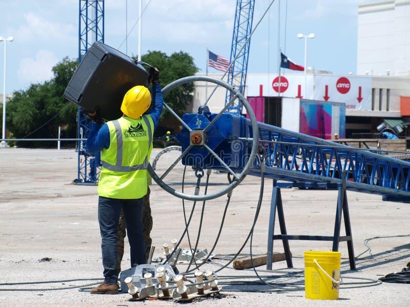 Een Torenmast voor een Mexicaans Circus wordt ontmanteld stock foto