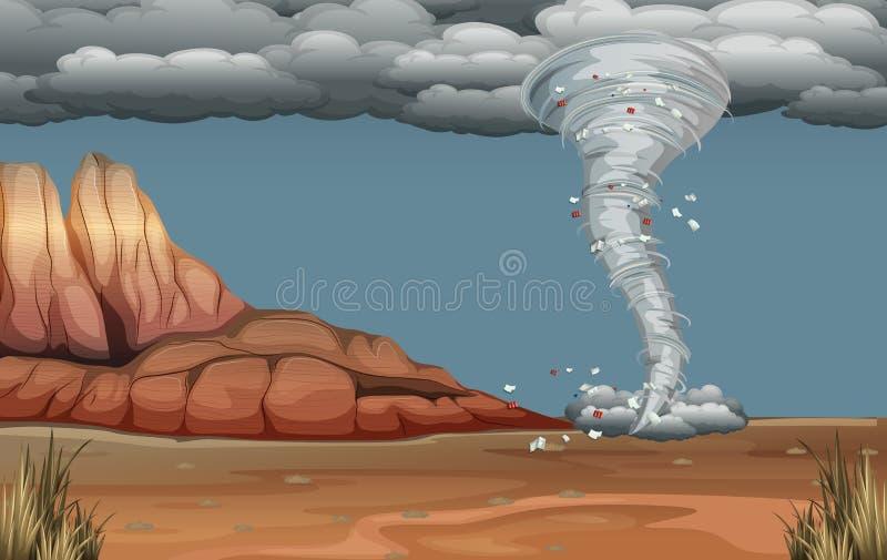 Een tornadoramp in aard stock illustratie