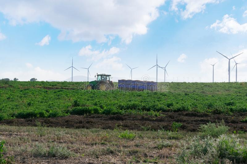 Een tractor met een aanhangwagen berijdt door het gebied op de achtergrond van windturbines stock foto's