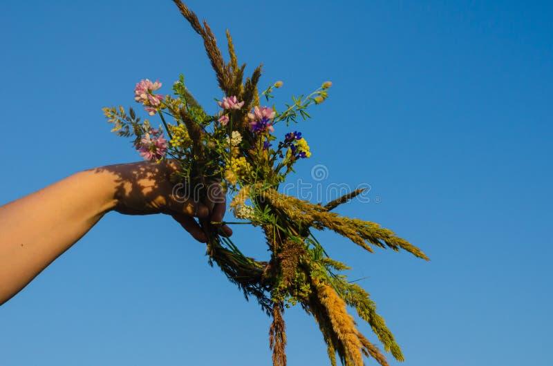 Een traditionele kroon van gebiedskruiden en bloemen in de handen van het meisje in de zon Het voorbereidingen treffen voor de ri royalty-vrije stock fotografie
