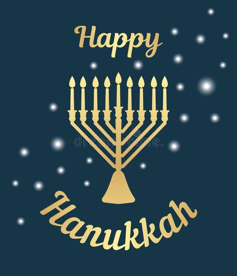 Een traditionele menorah voor het festival van Joodse Chanoeka De kaart van de groet Gouden pictogram op een donkere achtergrond  royalty-vrije illustratie