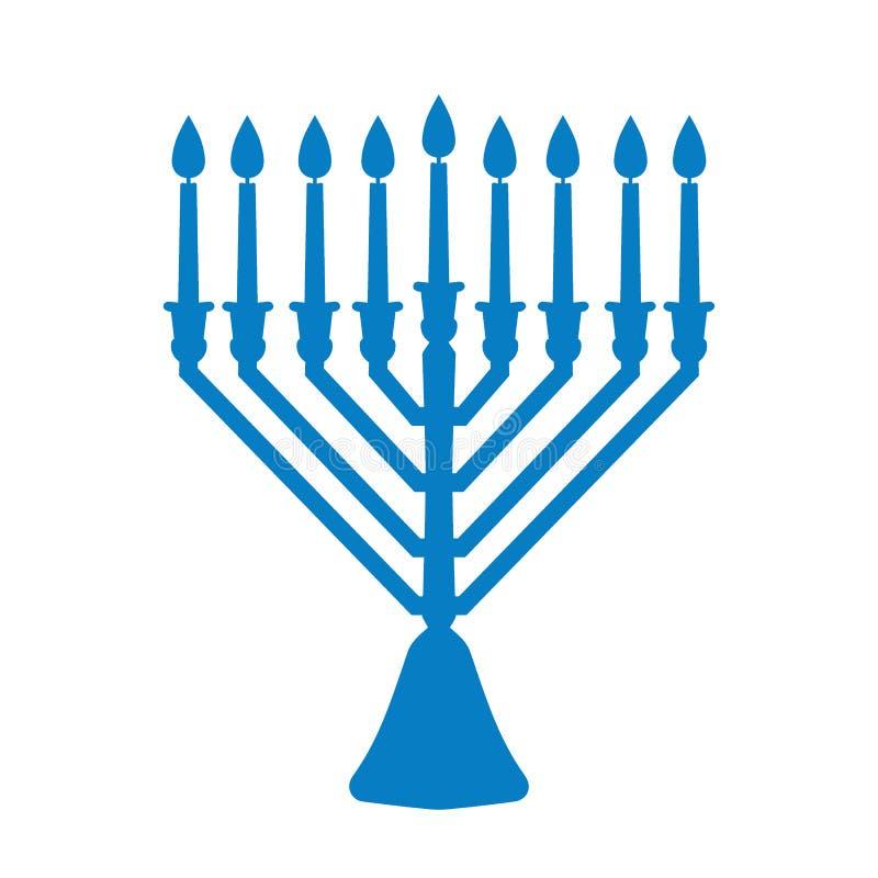 Een traditionele menorah voor het Joodse Chanoekafestival Blauw die silhouetpictogram op witte achtergrond wordt geïsoleerd Vecto stock illustratie
