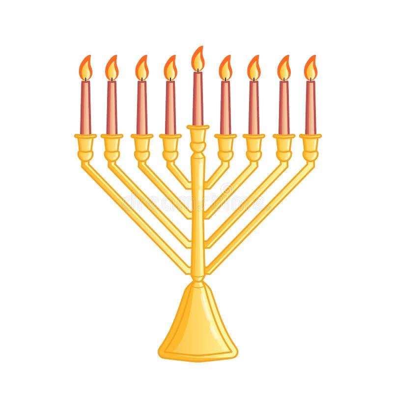 Een traditionele menorah voor het Joodse Chanoekafestival Kleurenpictogram op witte achtergrond wordt geïsoleerd die Vector illus stock illustratie