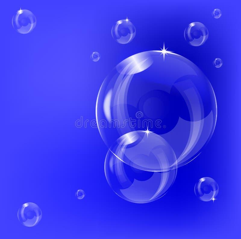 Een transparant zeepbelontwerp als achtergrond stock illustratie