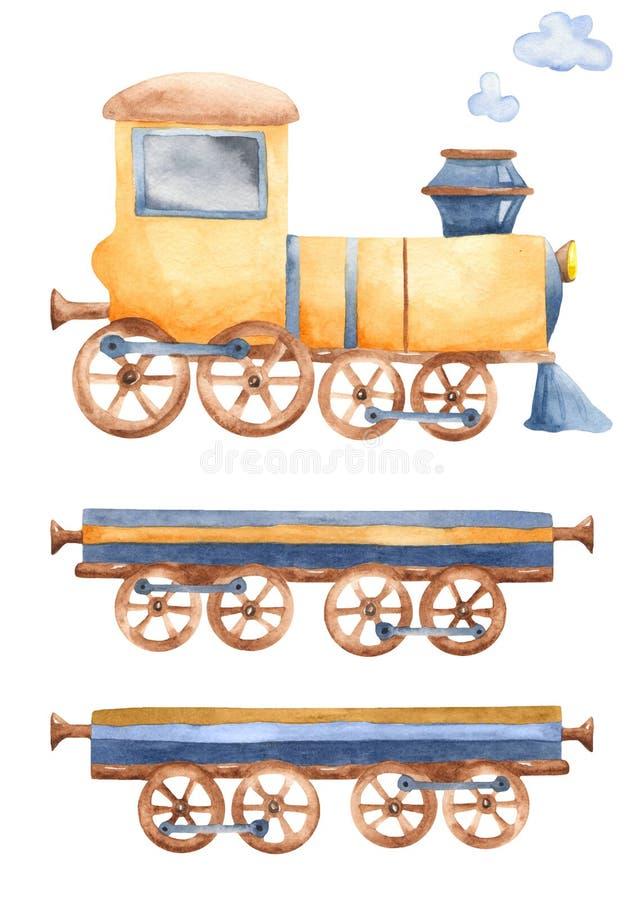 Een trein met wagens en rook met waterverf royalty-vrije illustratie