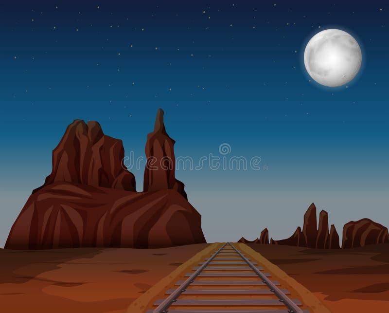 Een trein volgt in woestijn stock illustratie