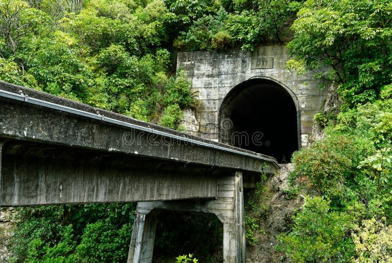 Een treintunnel dichtbij Kaikoura in het Zuideneiland van Nieuw Zeeland stock foto's