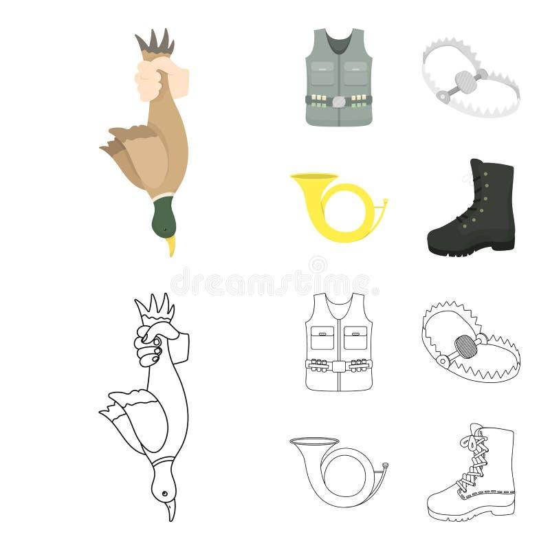 Een trofee in zijn hand, een staalval, een de jachtvest met bescherming, een hoorn Pictogrammen van de de jacht de vastgestelde i stock illustratie