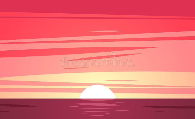 Een Tropisch zonsondergangstrand Vector illustratie stock illustratie