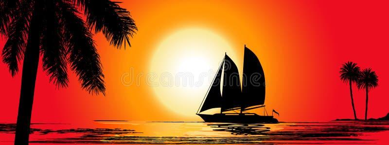 Een Tropische Avond Zonsondergang met Palmen en de boot Grote spruit vector illustratie