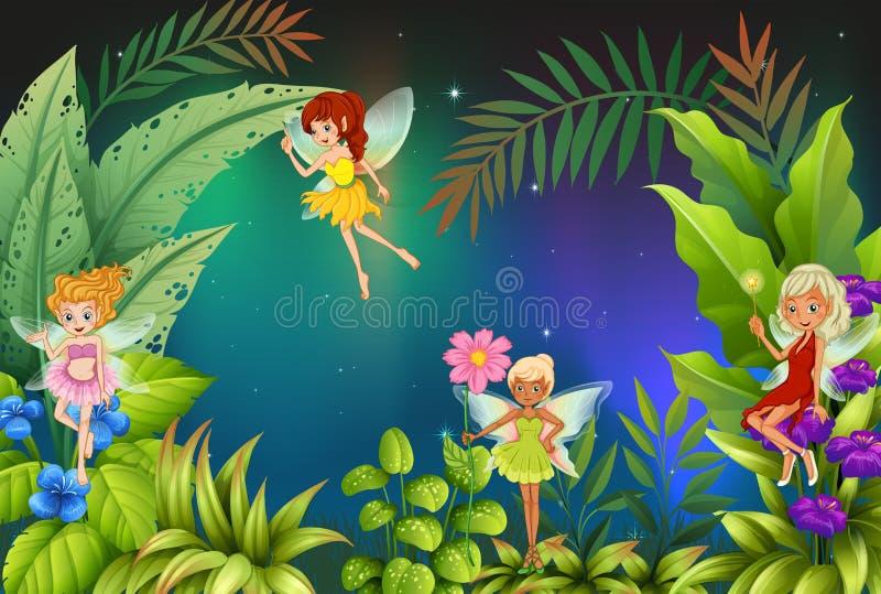 Een tuin met vier feeën vector illustratie