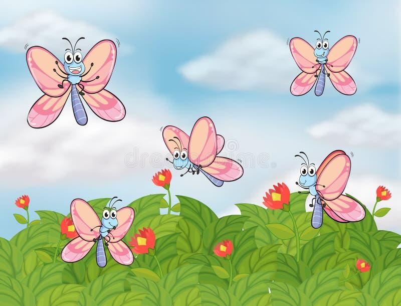 Een tuin met vlinders vector illustratie