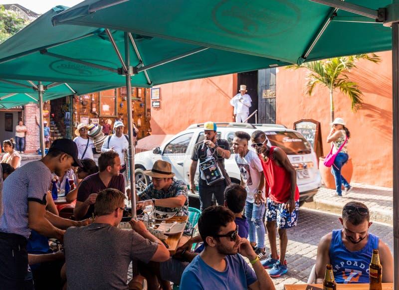 Een typische mening in Cartagena Colombia royalty-vrije stock foto's