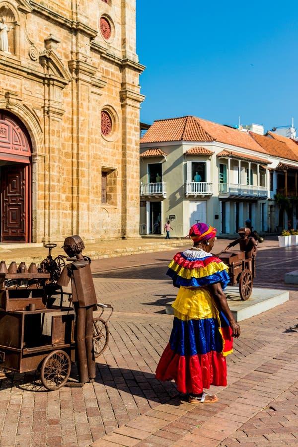 Een typische mening van Cartagena Colombia stock fotografie