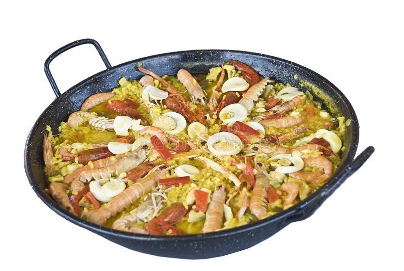Een typische Spaanse paella. royalty-vrije stock foto