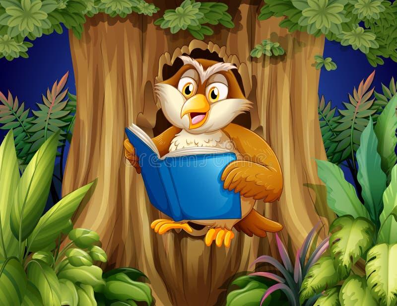 Een uil die een boek lezen bij de boom royalty-vrije illustratie