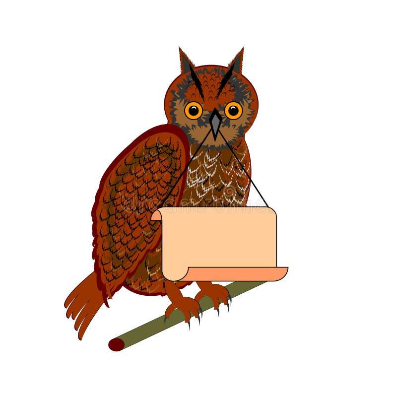 Een uil die een groot leeg document in zijn bek houden vector illustratie