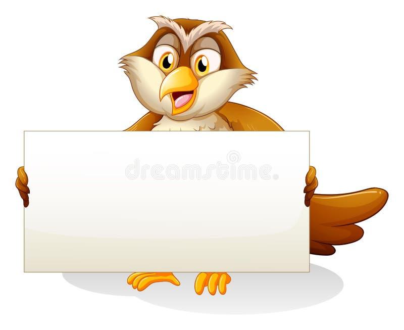 Een uil die een leeg uithangbord houden vector illustratie
