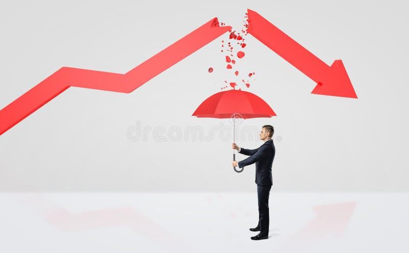 Een uiterst kleine zakenman die onder een rode paraplu van het puin van een gebroken rode statistiekpijl verbergen royalty-vrije stock foto's