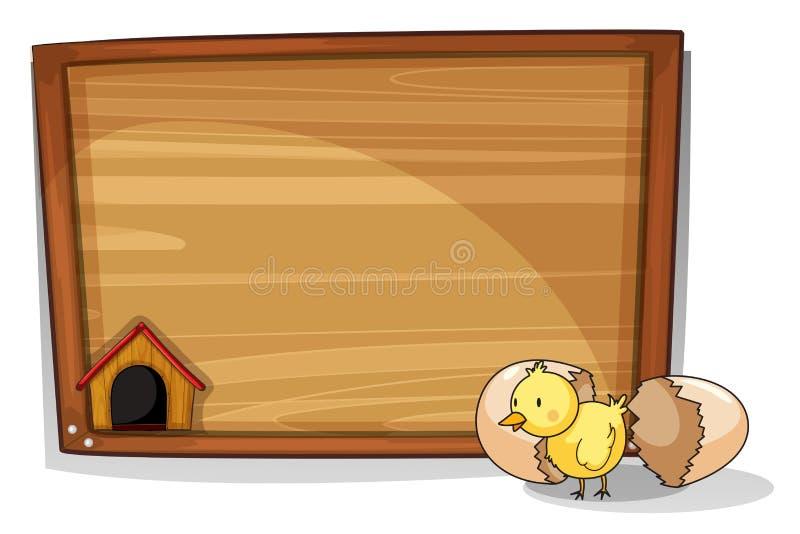 Een uitgebroed ei dichtbij een lege raad stock illustratie