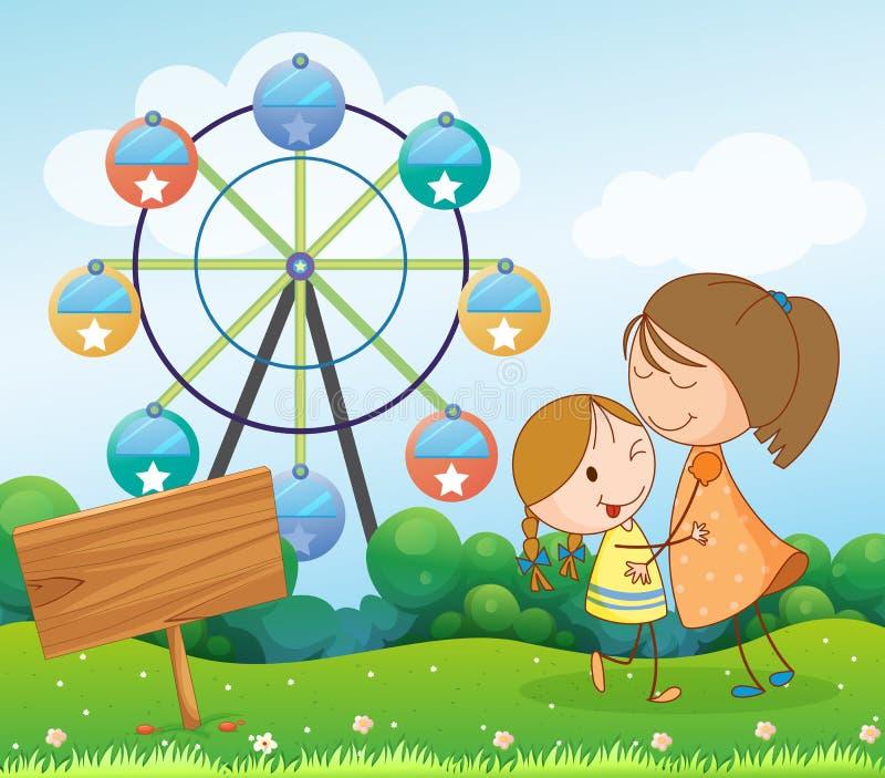 Een uithangbord dichtbij een moeder en een kind royalty-vrije illustratie