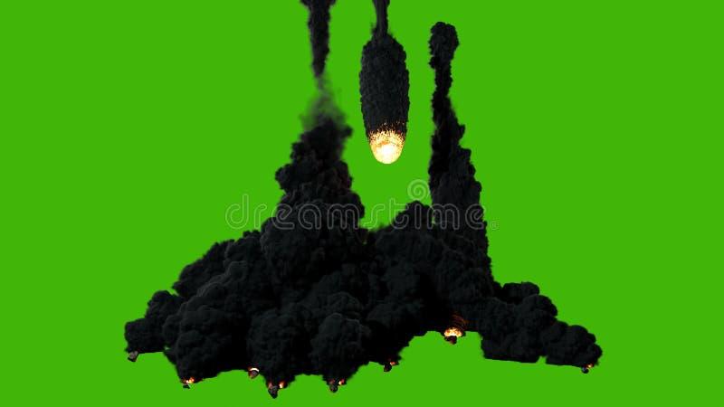 Een uitstekende kwaliteit cinematic van een van de hemel vliegen, omhoog de duisternis aansteken en vallende ster of meteoor die  vector illustratie