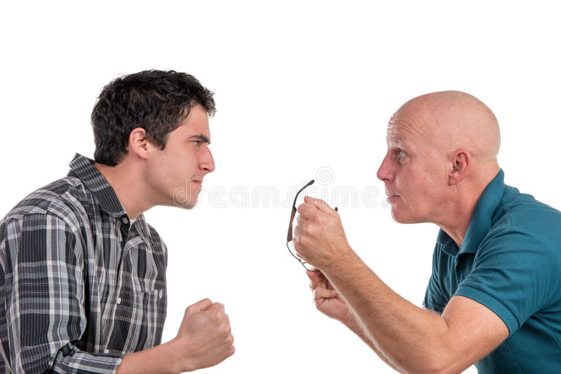 Een vader en een zoon zijn boos royalty-vrije stock foto